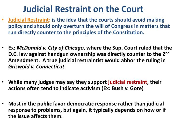 Judicial Restraint on the Court