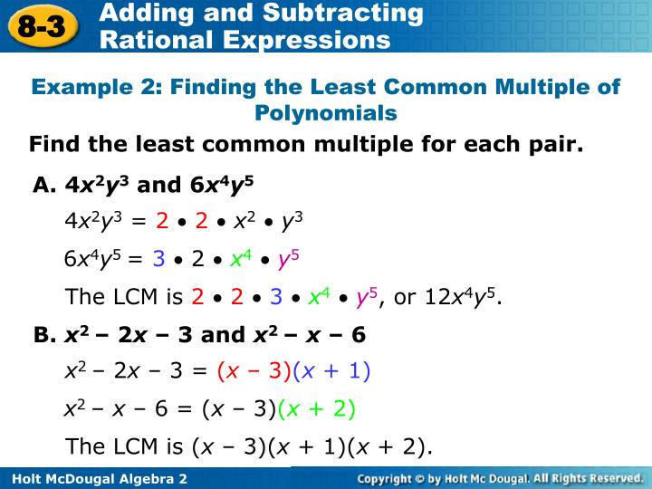 Example 2: Finding the Least Common Multiple of Polynomials