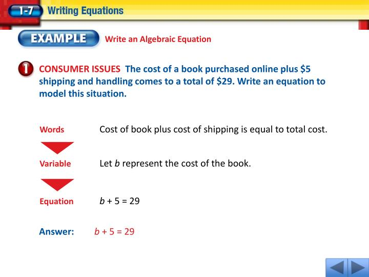 Write an Algebraic Equation
