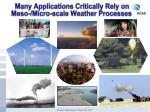 many applications critically rely on meso micro scale weather processes