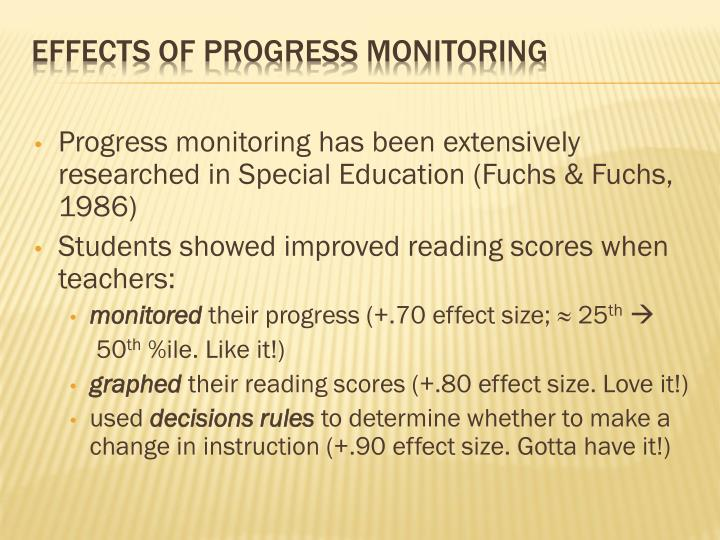 Progress monitoring has been extensively researched in Special Education (Fuchs & Fuchs, 1986)