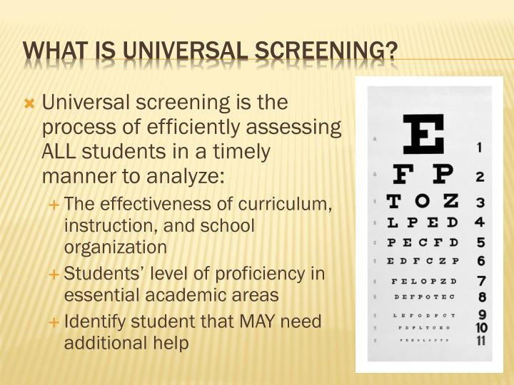 Universal screening is the process of efficiently assessing ALL students in a timely manner to analyze: