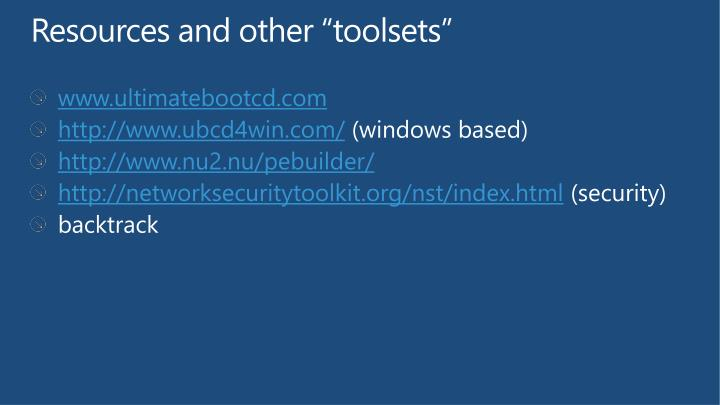 """Resources and other """"toolsets"""""""