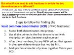 steps to follow for finding the least common denominator lcd of two fractions