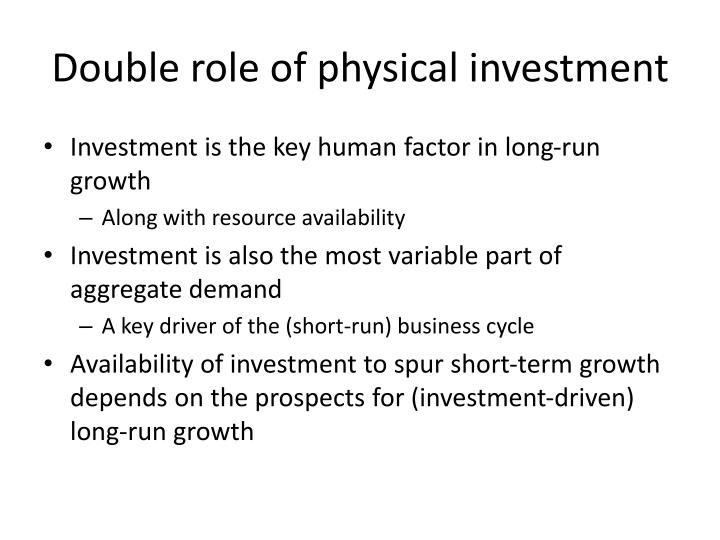 Double role of physical investment