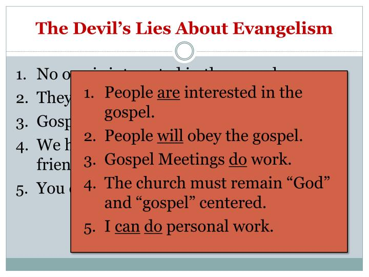 The Devil's Lies About Evangelism
