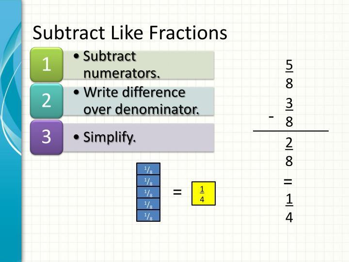 Subtract Like Fractions