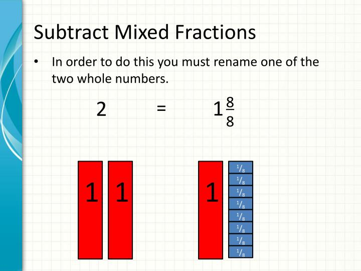 Subtract Mixed Fractions