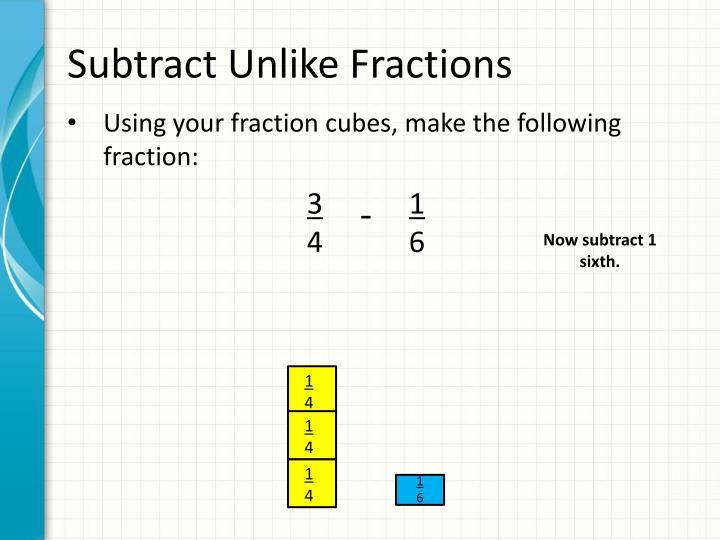 Subtract Unlike Fractions