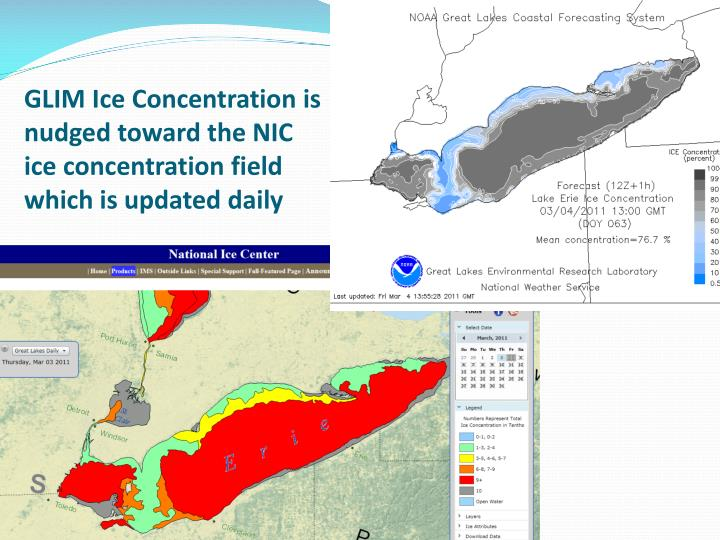 GLIM Ice Concentration is nudged toward the NIC ice concentration field which is updated daily