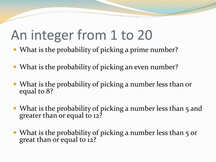 An integer from 1 to 20