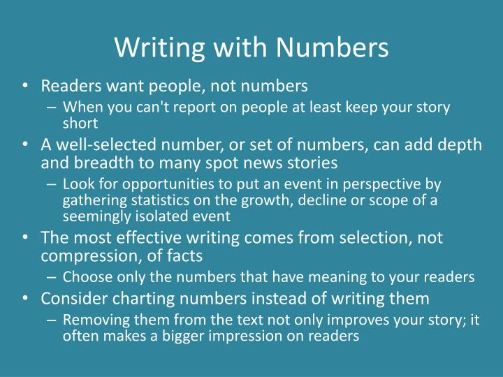 Writing with Numbers