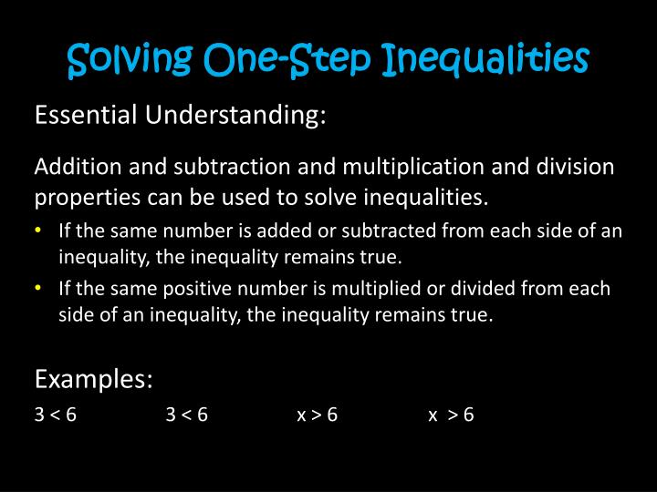 Solving One-Step Inequalities