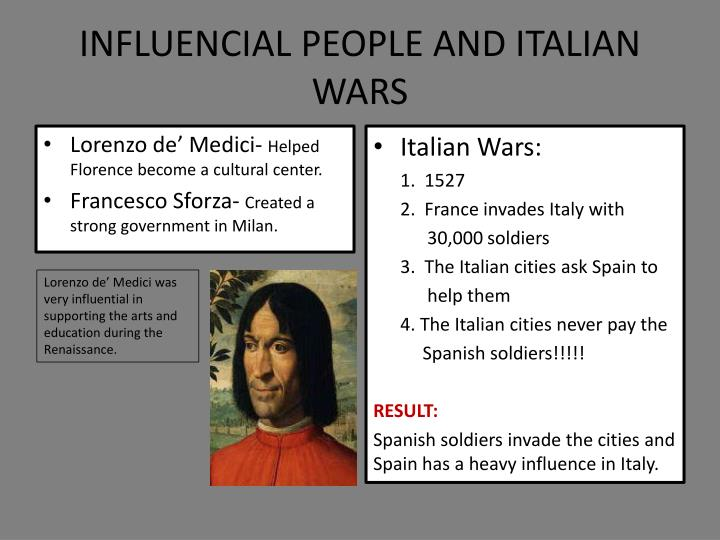 INFLUENCIAL PEOPLE AND ITALIAN WARS