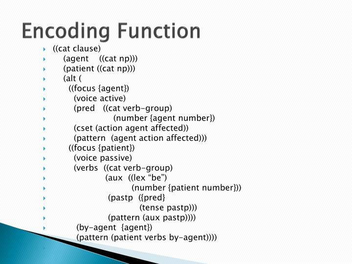 Encoding Function