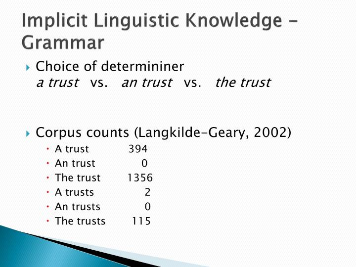 Implicit Linguistic Knowledge - Grammar