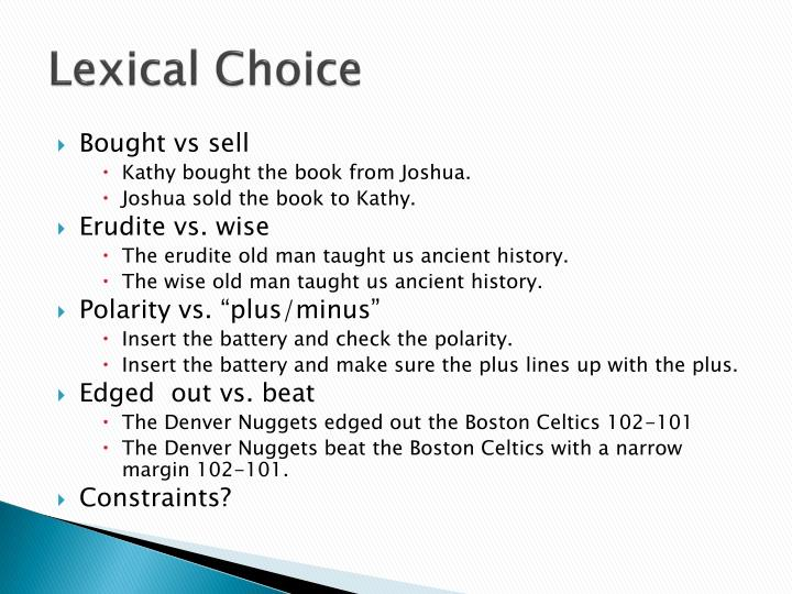 Lexical Choice