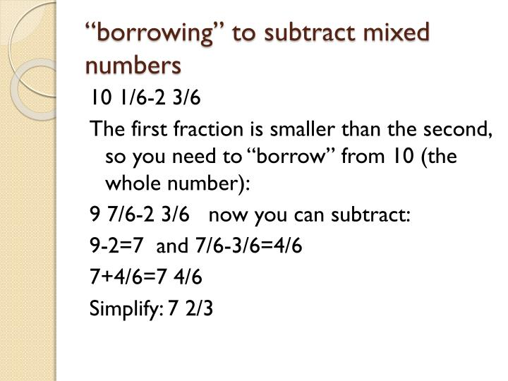 """""""borrowing"""" to subtract mixed numbers"""