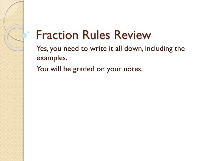 Fraction Rules Review