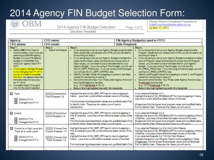 2014 Agency FIN Budget Selection Form: