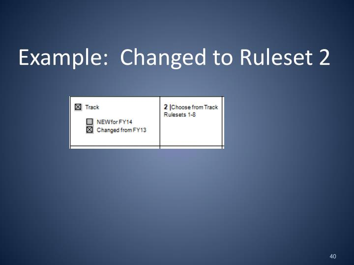 Example:  Changed to Ruleset 2
