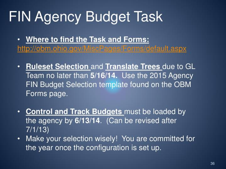 FIN Agency Budget Task