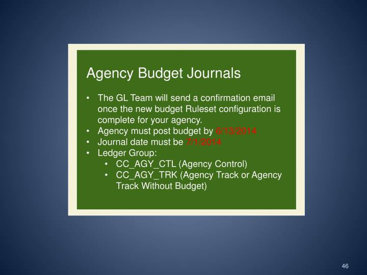 Agency Budget Journals