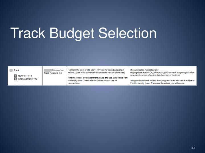 Track Budget Selection