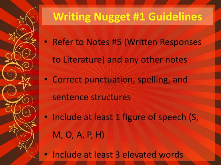 Writing Nugget #1 Guidelines