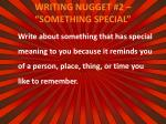 writing nugget 2 something special