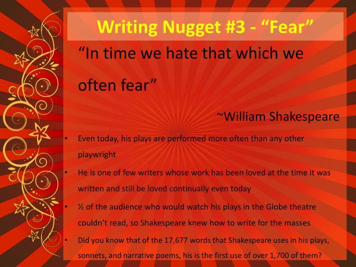 "Writing Nugget #3 - ""Fear"""