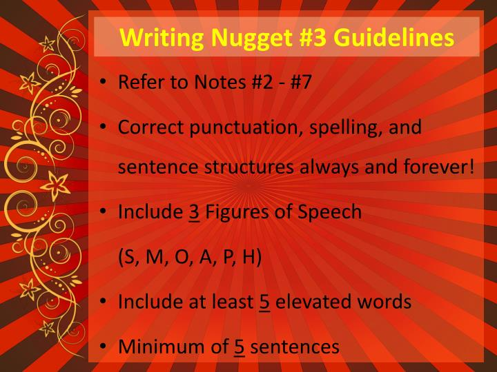 Writing Nugget #3 Guidelines