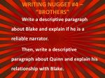 writing nugget 4 brothers
