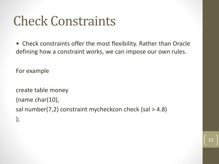 Check Constraints