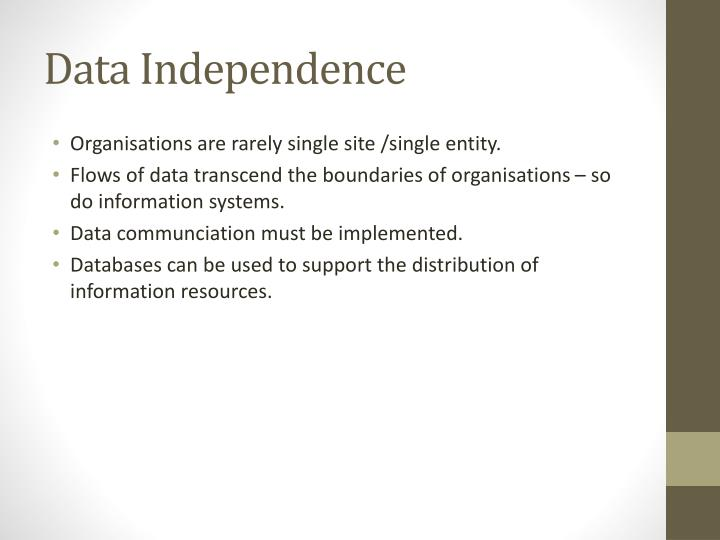 Data Independence