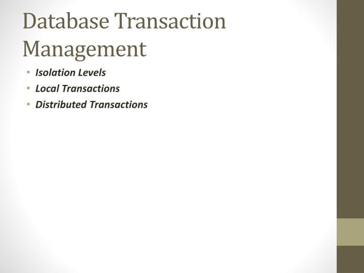 Database Transaction Management