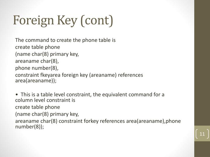 Foreign Key (