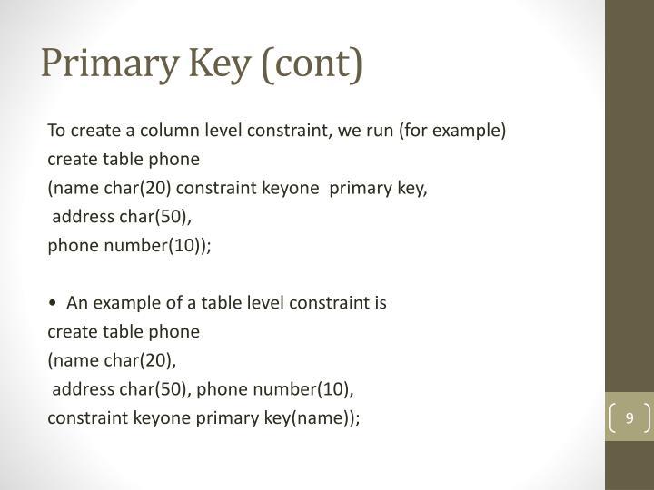 Primary Key (