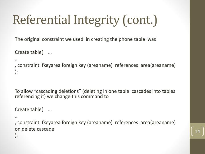 Referential Integrity (