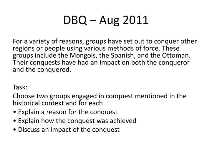 DBQ – Aug 2011