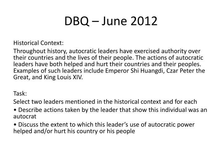 DBQ – June 2012