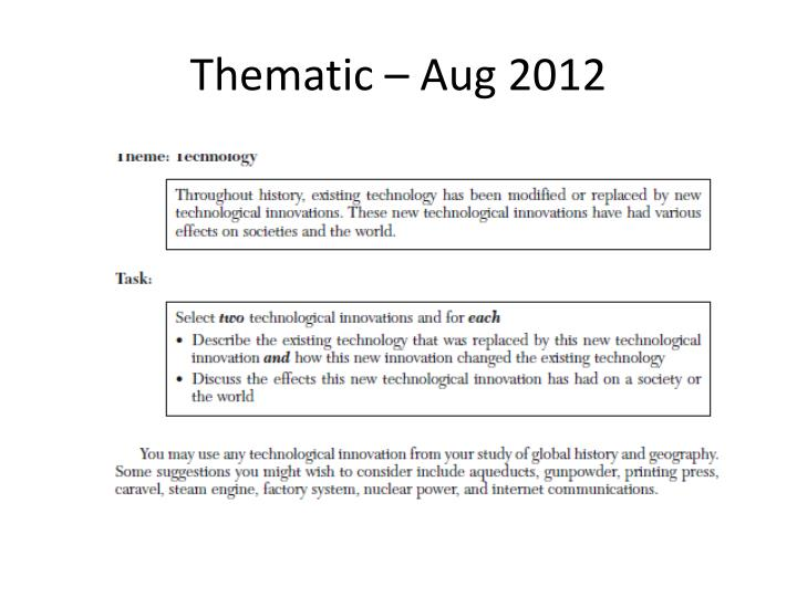 Thematic – Aug 2012
