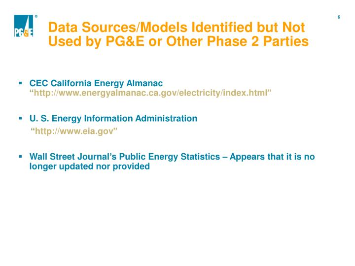 Data Sources/Models Identified but Not Used by PG&E or Other Phase 2 Parties