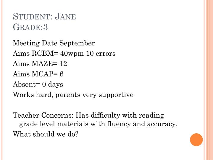 Student: Jane