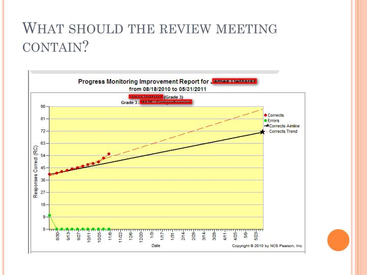 What should the review meeting contain?