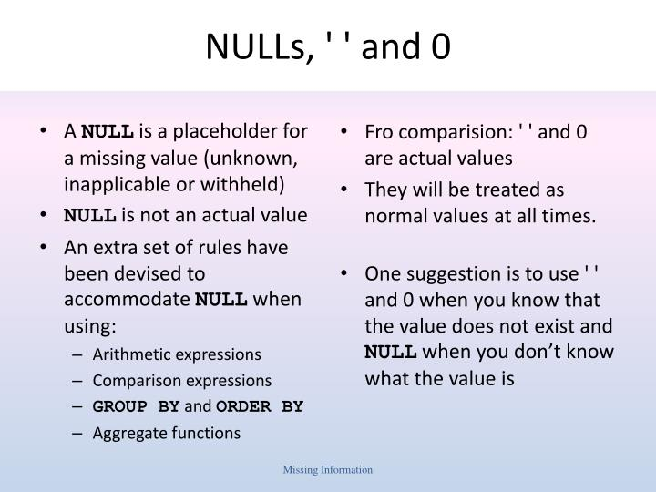Nulls and 0