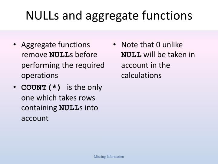 NULLs and aggregate functions