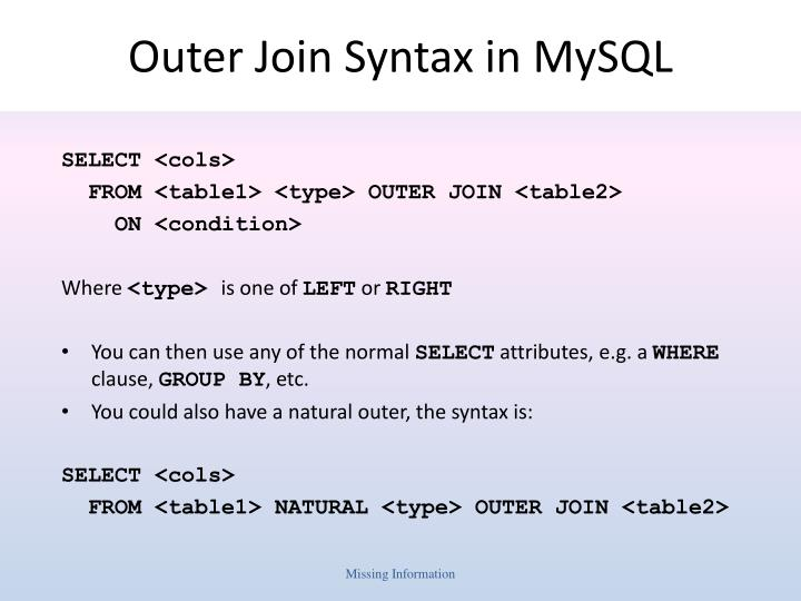 Outer Join Syntax in