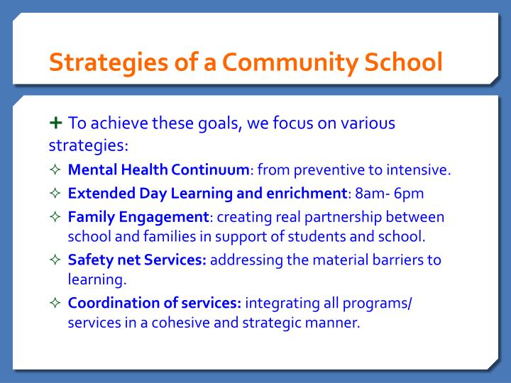 Strategies of a Community School