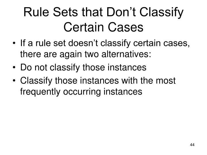 Rule Sets that Don't Classify Certain Cases